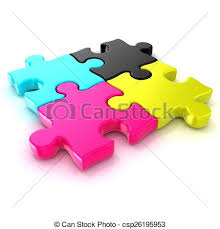 cymk puzzle four cmyk puzzle four cmyk jigsaw puzzle pieces isolated stock
