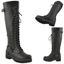 womens boots the knee womens the high knee buckle lace up combat boots knee high