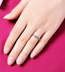 heart style rings images 1 carat 18k white gold simple heart style credible simulate jpg