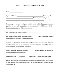 sample rental agreement month to month form 8 free documents in
