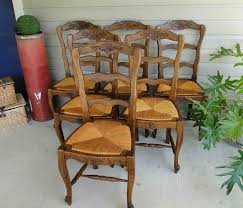 French Dining Chairs French Antique Oak Dining Chairs With Stretchers Ladder Backs And