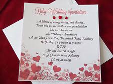 40th anniversary invitations ruby wedding invitations ebay