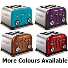 4slice Toasters Morphy Richards Accents 4 Slice Wide Slot Toaster Red Creamy Black