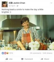 Meme Jackie Chan - jackie chan s facebook page is full of the warm fuzzies memes