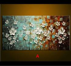 Modern Home Decor Online Oil Painting Palette Knife Thick Paint White Flowers Painting