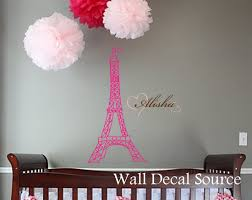 eiffel tower wall decal wall art decal girls name wall zoom
