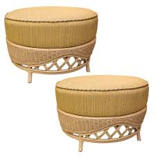 furniture pair of natural yellow vintage large rattan round ottomans