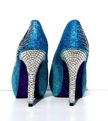 Peacock High Heels Peacock Heels In Aqua Blue And Purple Glitter Heels With Swarovski