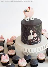 Gray And Pink Baby Shower Cake And Cupcakes Cake By Angela
