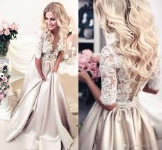 luxury champagne colored wedding dresses with sleeves svesty com