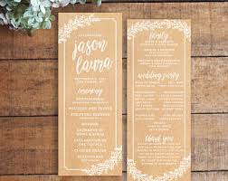 kraft paper wedding programs vintage wedding program order of service