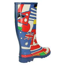 Multicoloured Flag Womens Spot On World Flag Design Wellington Boots Blue
