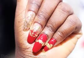 notd crimson red gold leaf nail art stella u0027s addiction