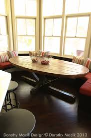 custom butcher block strip oval wood dining table from