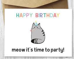 happy birthday party cat card happy birthday cat digital card
