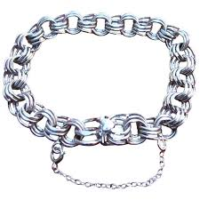 sterling charm bracelet chain images Hefty vintage sterling silver triple link charm bracelet sold jpg