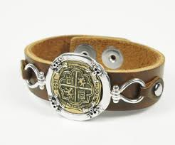 leather bracelet with sterling silver images Sterling silver and copper atocha coin brown leather bracelet jpg