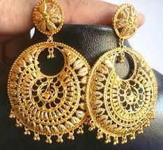 big jhumka gold earrings gold tone chand bali jhumka light weight 5 5cm diameter big indian