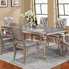 Silver Dining Tables Danette Metallic Platinum Extendable Rectangular Dining Table From