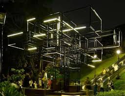abstract arboreal structures farm singapore light installation