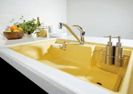 retro kitchen faucet sinks gorgeous yellow rectangular porcelain steel single bowl