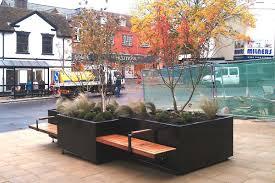 metal planter rectangular with integrated bench modular