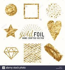 gold foil wrap vector gold foil effect set a collection of gold foil items stock