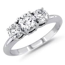 diamond ring 1 00 ctw round cut three stone diamond ring g h si i