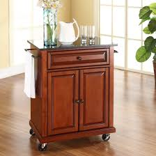 Wheeled Kitchen Islands Cherry Portable Kitchen Island Cart W Granite Top U0026 Locking