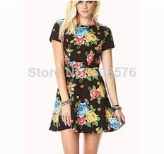 ladies u0027 elegant vintage floral print dress o neck short sleeve
