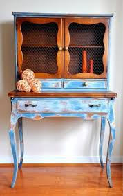an upcycled kitchen hutch finished in old white chalk paint