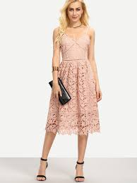 hollow out fit u0026 flare lace cami dress shein sheinside