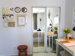 Closet Door With Mirror Wood Sliding Closet Doors 3 Panel Door Mirror For Bedrooms