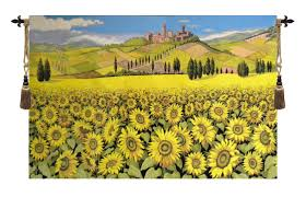 tuscan yellow 34x52inch italian woven tapestry wall hanging tuscan sunflower