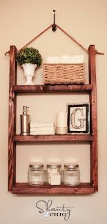 Wooden Shelves For Bathroom How To Make A Hanging Bathroom Shelf For Only 10 Shanty 2 Chic
