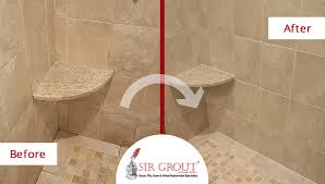 Bathroom Grout Cleaner Heavily Stained Shower In Acton Ma Is Improved With A Grout