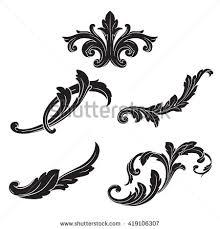 illustration of set of vintage design elements baroque vector