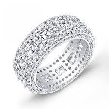 deco style asscher cut diamond wedding band