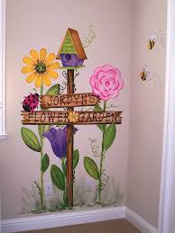 childrens painted wall murals cathie s murals childrens murals giant garden birdhouse sign