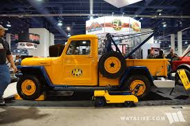 old yellow jeep 2016 sema crown willys tow truck