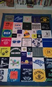 high school graduation presents this is a quilt i just finished it s made of t shirts it s a
