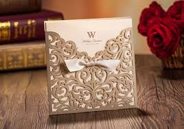 Golden Wedding Invitation Cards Amazon Com Wishmade 50 Count Square Laser Cut Invitations Cards