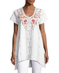 Neiman Marcus Drapes Jwla Embroidered Top Neiman Marcus