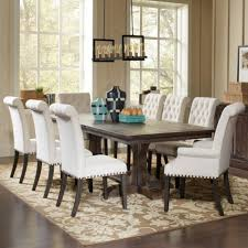 upholstered chairs dining room traditional dining table and cream upholstered chair set