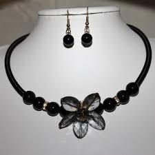 black beaded collar necklace images Black beaded flower collar necklace jewellery set jpg