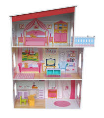 teamson kids fancy 3 level mansion wooden dollhouse with 13 pieces