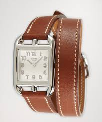 hermes brown leather and stainless steel wrap strap u0027cape cod gm
