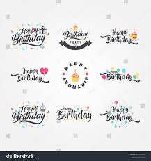 cute funny happy birthday typography calligraphy stock vector