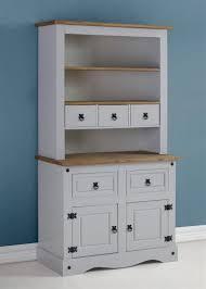 corona small buffet hutch cabinet 3 drawer 3 shelves grey