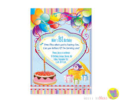 Birthday Invitation Cards For Kids First Birthday First Birthday Invitation Card Balloons Cake Invitations